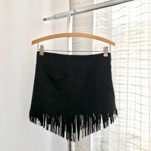 DO+BE Skirts - Do+Be Faux Suede Black Fringe Hem Mini Skirt